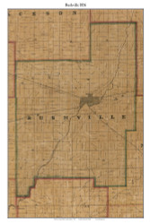 Rushville, Indiana 1856 Old Town Map Custom Print  Rush Co.