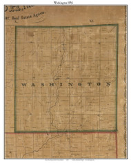 Washington, Indiana 1856 Old Town Map Custom Print  Rush Co.