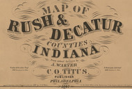 Map Cartouche, Rush Co. Indiana 1867 Old Town Map Custom Print