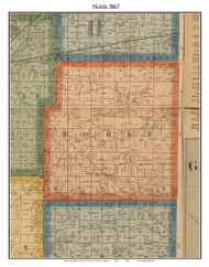 Noble, Indiana 1867 Old Town Map Custom Print  Rush Co.