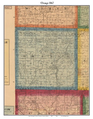 Orange, Indiana 1867 Old Town Map Custom Print  Rush Co.
