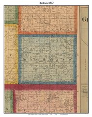 Richland, Indiana 1867 Old Town Map Custom Print  Rush Co.