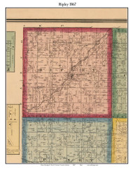 Ripley, Indiana 1867 Old Town Map Custom Print  Rush Co.