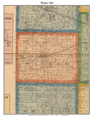 Walker, Indiana 1867 Old Town Map Custom Print  Rush Co.