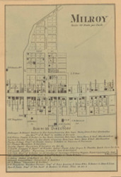Milroy Village, Anderson, Indiana 1867 Old Town Map Custom Print  Rush Co.