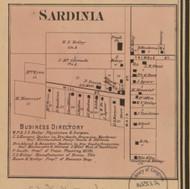 Sardinia Village, Jackson, Indiana 1867 Old Town Map Custom Print  Rush Co.