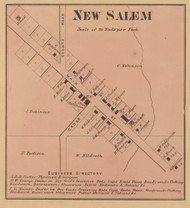 New Salem Village, Noble, Indiana 1867 Old Town Map Custom Print  Rush Co.