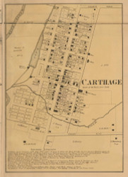 Carthage Village, Ripley, Indiana 1867 Old Town Map Custom Print  Rush Co.