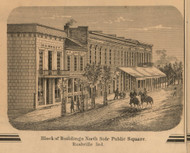 North Side, Public Square, View 2, Rushville, Indiana 1867 Old Town Map Custom Print  Rush Co.