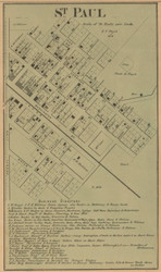 St. Paul Village, Adams, Indiana 1867 Old Town Map Custom Print  Decatur Co.