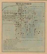 Milford Village, Clay, Indiana 1867 Old Town Map Custom Print  Decatur Co.