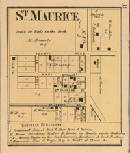 St. Maurice Village, Fugit, Indiana 1867 Old Town Map Custom Print  Decatur Co.