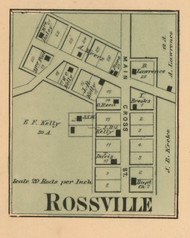 Rossville Village, Salt Creek, Indiana 1867 Old Town Map Custom Print  Decatur Co.