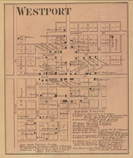 Westport Village, Sand Creek, Indiana 1867 Old Town Map Custom Print  Decatur Co.