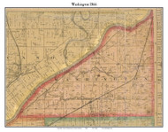 Washington, Indiana 1866 Old Town Map Custom Print  Tippecanoe Co.