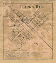 Clarks Hill Village, Lauramie, Indiana 1866 Old Town Map Custom Print  Tippecanoe Co.