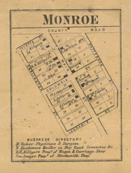 Monroe Village, Lauramie, Indiana 1866 Old Town Map Custom Print  Tippecanoe Co.