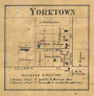 Yorktown Village, Lauramie, Indiana 1866 Old Town Map Custom Print  Tippecanoe Co.