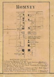 Romney Village, Randolph, Indiana 1866 Old Town Map Custom Print  Tippecanoe Co.