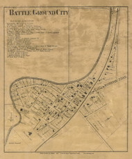 Battle Ground City, Tippecanoe, Indiana 1866 Old Town Map Custom Print  Tippecanoe Co.