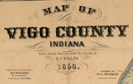 Map Cartouche, Vigo Co. Indiana 1858 Old Town Map Custom Print