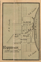 Harrison Village, Fayette , Indiana 1858 Old Town Map Custom Print  Vigo Co.
