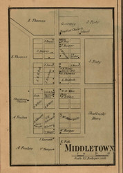 Middleton Village, Prairie Creek, Indiana 1858 Old Town Map Custom Print  Vigo Co.