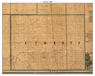 Liberty, Indiana 1861 Old Town Map Custom Print  Wabash Co.
