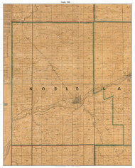 Noble, Indiana 1861 Old Town Map Custom Print  Wabash Co.