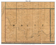 Waltz, Indiana 1861 Old Town Map Custom Print  Wabash Co.