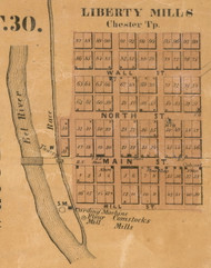 Liberty Mills Village, Chester, Indiana 1861 Old Town Map Custom Print  Wabash Co.