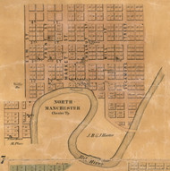 North Manchester Village, Chester, Indiana 1861 Old Town Map Custom Print  Wabash Co.