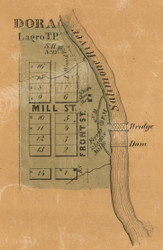 Dora Village, Largo, Indiana 1861 Old Town Map Custom Print  Wabash Co.