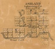 Ashland Village, Liberty, Indiana 1861 Old Town Map Custom Print  Wabash Co.