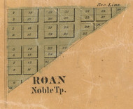 Roan Village, Noble, Indiana 1861 Old Town Map Custom Print  Wabash Co.