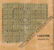 Laketon Village, Pleasant, Indiana 1861 Old Town Map Custom Print  Wabash Co.