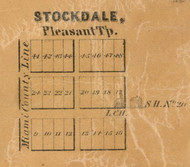 Stockdale Village, Pleasant, Indiana 1861 Old Town Map Custom Print  Wabash Co.