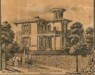 Teague Residence, Wabash, Noble, Indiana 1861 Old Town Map Custom Print  Wabash Co.