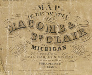 Map Cartouche, Macomb Co. Michigan 1859 Old Town Map Custom Print