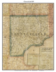 Chesterfield, Michigan 1859 Old Town Map Custom Print - Macomb Co.