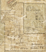 Honeoye Village, Armada, Michigan 1859 Old Town Map Custom Print - Macomb Co.