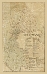 Mt. Clemens Village, Clinton, Michigan 1859 Old Town Map Custom Print - Macomb Co.