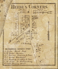 Beebes Corners Village, Richmond, Michigan 1859 Old Town Map Custom Print - Macomb Co.