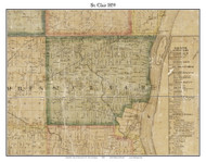 St. Clair, Michigan 1859 Old Town Map Custom Print - St. Claire Co.