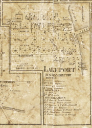 Lakeport Village, Birchville, Michigan 1859 Old Town Map Custom Print - St. Claire Co.
