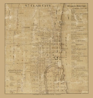 St Clair City, East China, Michigan 1859 Old Town Map Custom Print - St. Claire Co.