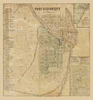 Port Huron City, Port Huron, Michigan 1859 Old Town Map Custom Print - St. Claire Co.
