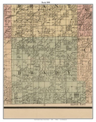 Brady, Michigan 1890 Old Town Map Custom Print - Saginaw Co.