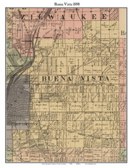 Buena Vista, Michigan 1890 Old Town Map Custom Print - Saginaw Co.