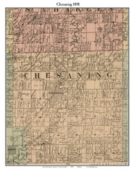 Chesaning, Michigan 1890 Old Town Map Custom Print - Saginaw Co.